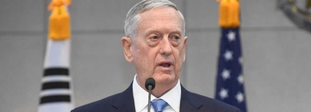 Mattis: Diplomacy Should Impose Reason on N. Korea