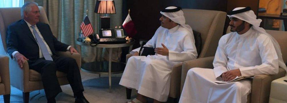 US Secretary of State Rex Tillerson meets Qatar's Foreign Minister Sheikh Mohammed bin Abdulrahman  al-Thani (2nd R) in Doha, Qatar on July 11.
