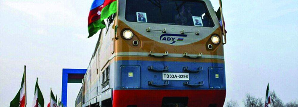 Maiden Azerbaijan Train Arrives  at Border