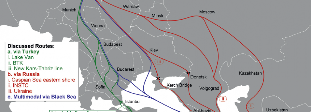 Possible rail and multimodal routes between Western Europe and Iran