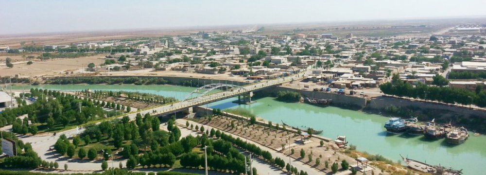 A view of the city of Hendijan in Khuzestan Province.