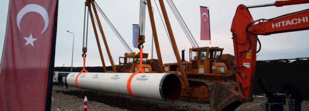 The 1,850-kilometer TANAP pipeline connects to the South Caucasus Pipeline.