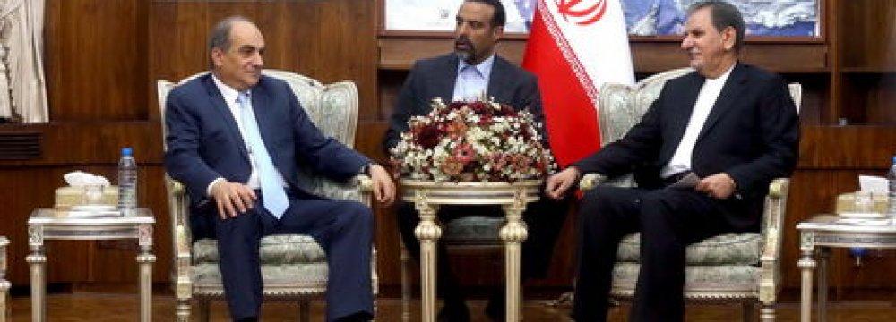 Demetris Syllouris (L) meets Es'haq Jahangiri.