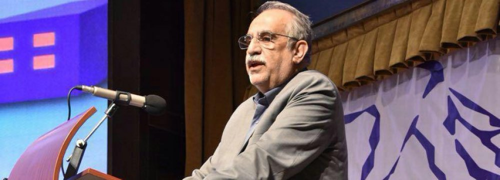 Economy Minister Masoud Karbasian addresses the first conference on managing public sector debts in Tehran.