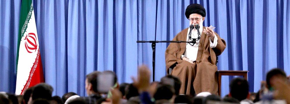 Ayatollah Seyyed Ali Khamenei addresses people in Tehran on May 17.