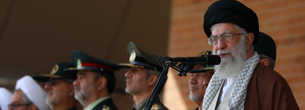 Ayatollah Seyyed Ali Khamenei speaks at the graduation ceremony of Army cadets in Tehran on Oct. 25.