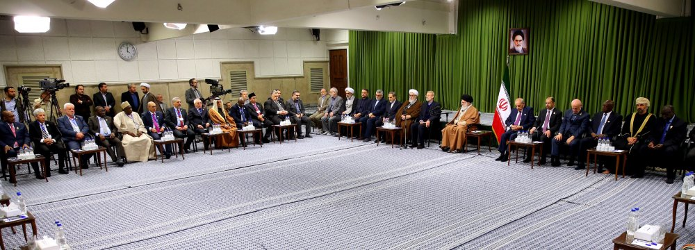Ayatollah Seyyed Ali Khamenei speaks in a meeting with participants in the PUIC summit in Tehran on Jan. 16.