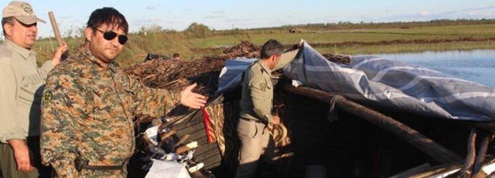 Bird Poachers' Shelters in Anzali Wetland Raided
