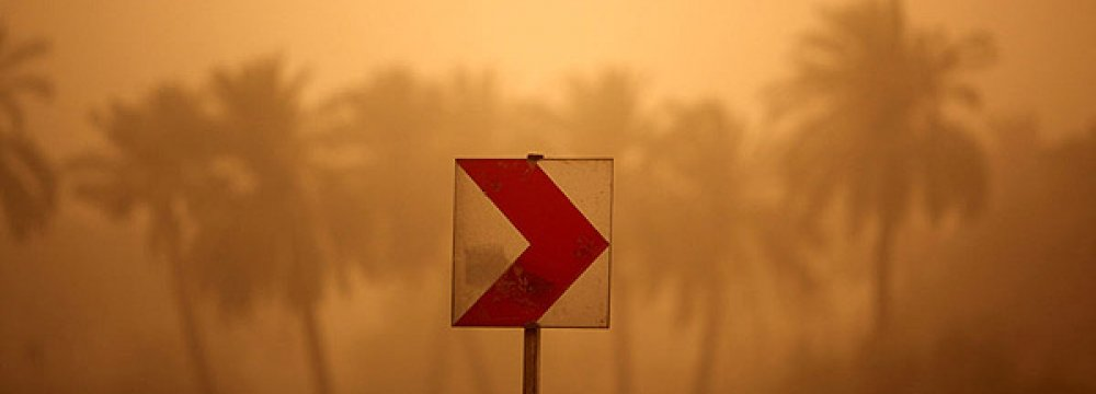 At the peak of the dust storms this week, the field of vision in some cities was reduced to a mere 50 meters.