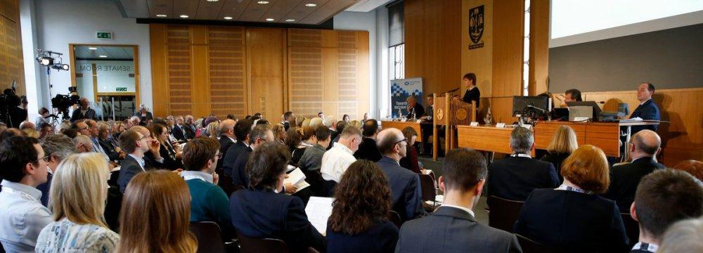 Nicola Sturgeon addresses Scotland's New Economic Thinking's conference on Oct. 22.