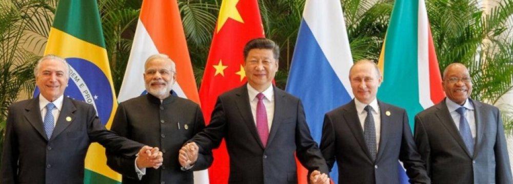 (From L) Brazil President Michel Temer, India PM Narendra Modi, China President Xi Jinping, Russia President Vladimir Putin and South Africa President Jacob Zuma.