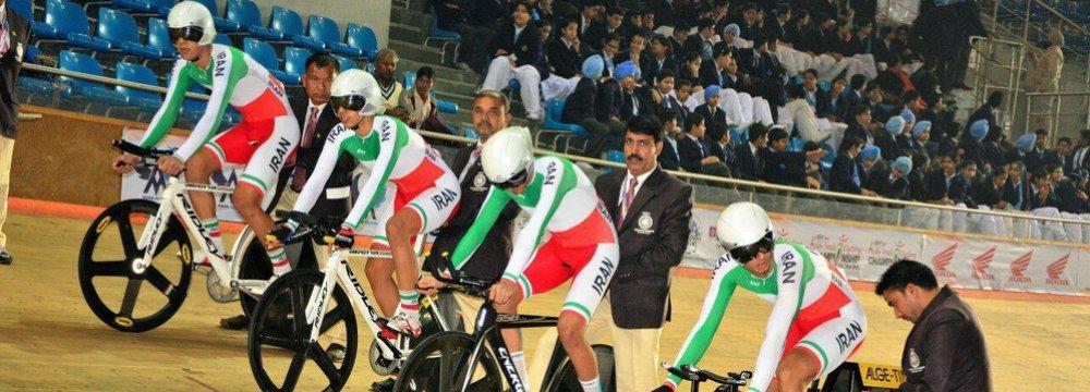 Iran's cycling squad at 2017 Asian Track Cycling Championships, New Delhi, India.