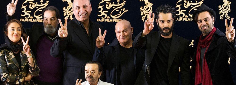 The cast and director of 'Patrol 2'  at Fajr Film Festival. From left: Bahareh Afshari, Saeed Soheili, Hamid Farrokhnejad, Asadollah Yekta, Safar Kashkouli,  Saed Soheili and Mehdi Mahani