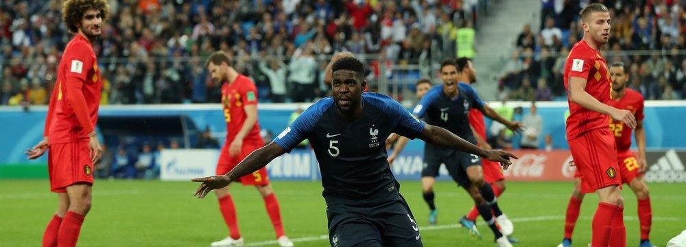 France's Samuel Umtiti celebrates opening the scoring.