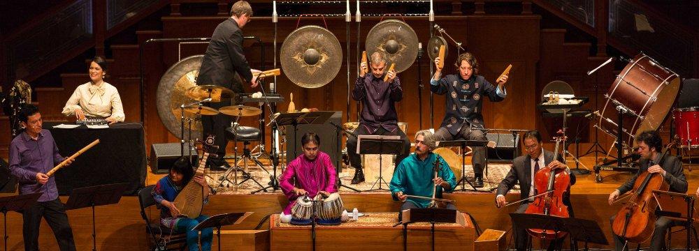 Yo-Yo Ma (2nd R) and Kayhan Kalhor (3rd R) performing in the Silk Road Ensemble