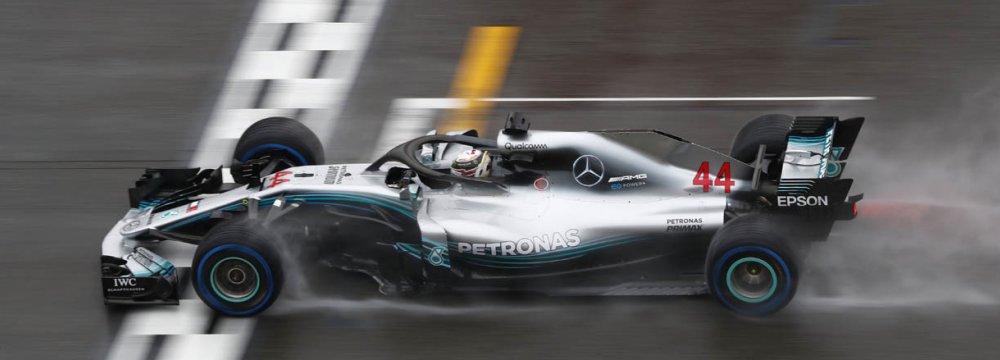 Lewis Hamilton passes the finish line at Hockenheimring, venue for German GP.