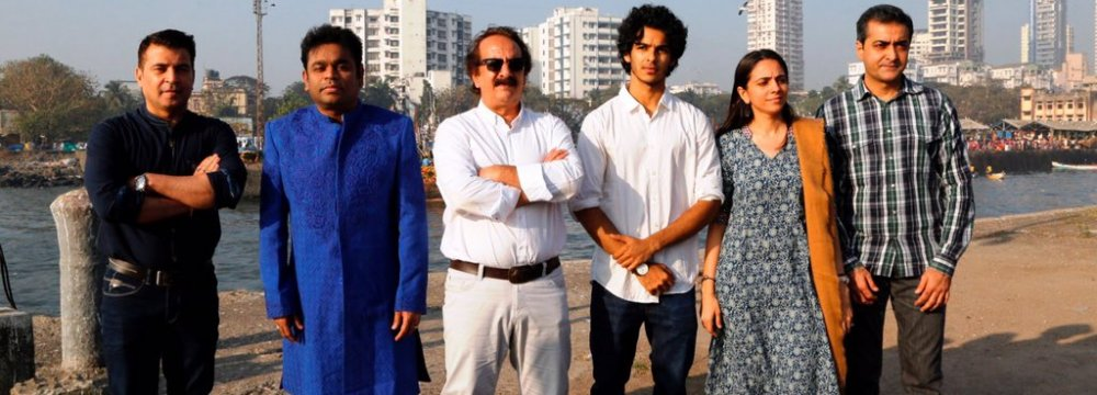 From left: Producer Kishor Arora, composer A. R. Rahman, director Majid Majidi, actor Ishaan Khatter, producer Shareen Mantri Kedia and business head of Zee Studios Akash Chawla