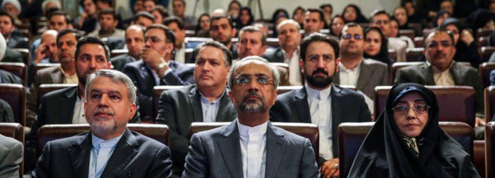 Seyed Reza Salehi Amiri (L), Mohammad Nahavandian (C) and Ashraf Boroujerdi at the ceremony