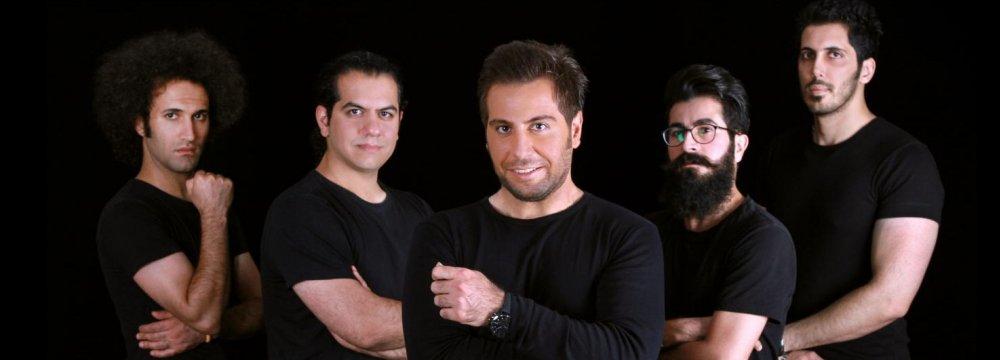 Kaveh Dowlatnia (C) and the band
