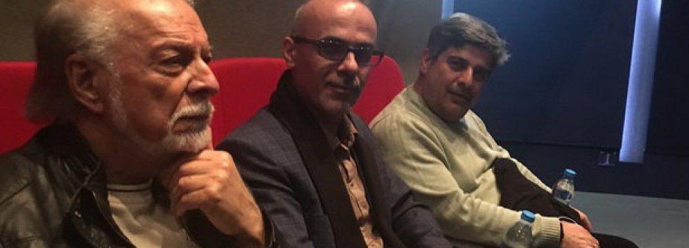 Veteran voice artist Changiz Jalilvand (L), director Qorban Mohammadpur (C) and producer Javad Norouzbeigi