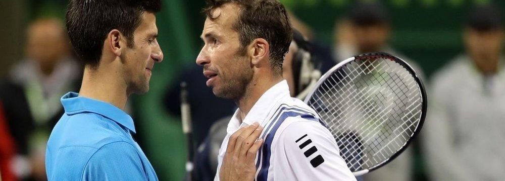 Novak Djokovic (L) and  Radek Stepanek