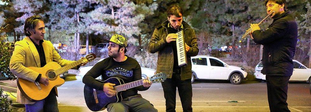A street band in Tehran