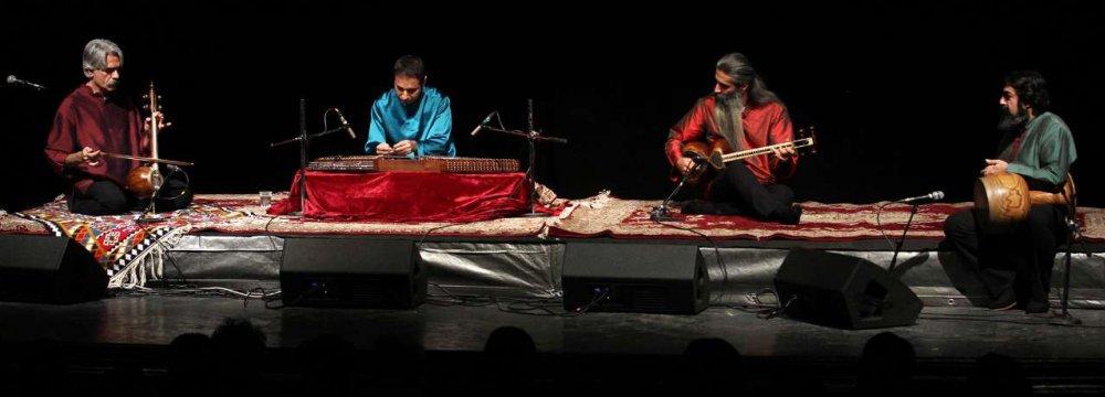 From left to right: Kayhan Kalhor, Ali Bahramifard, Hadi Azarpira and Navid Afqah