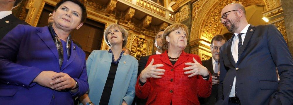 (L-R) Polish Prime Minister Beata Szydlo, British Prime Minister Theresa May,  German Chancellor Angela Merkel and Belgian Prime Minister Charles Michel