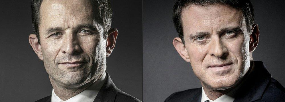 Benoit Hamon (L) and Manuel Valls