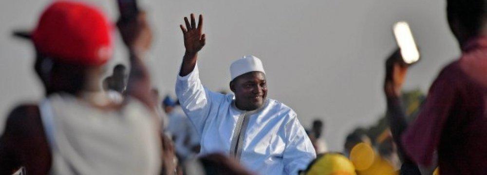 Adama Barrow arrives in Banjul, Gambia, on Jan. 26.