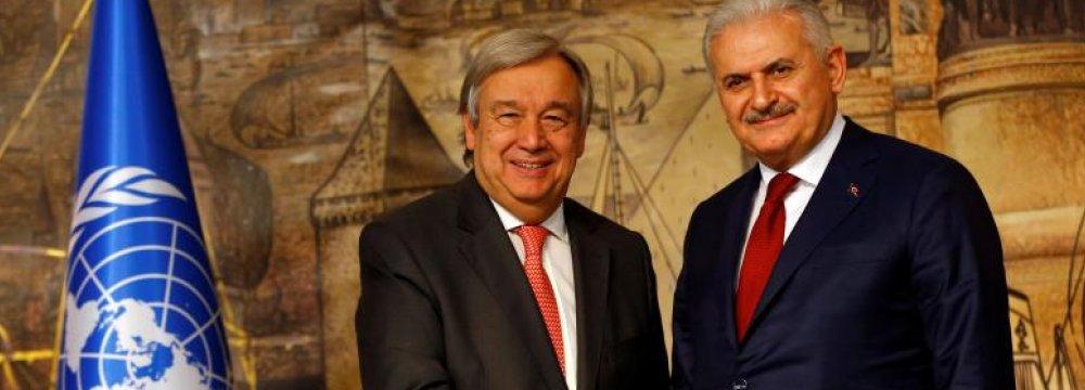 Turkish Prime Minister Binali Yildirim (R) and  UN Secretary-General Antonio Guterres attend a news conference in Istanbul, Turkey, on Feb. 10.