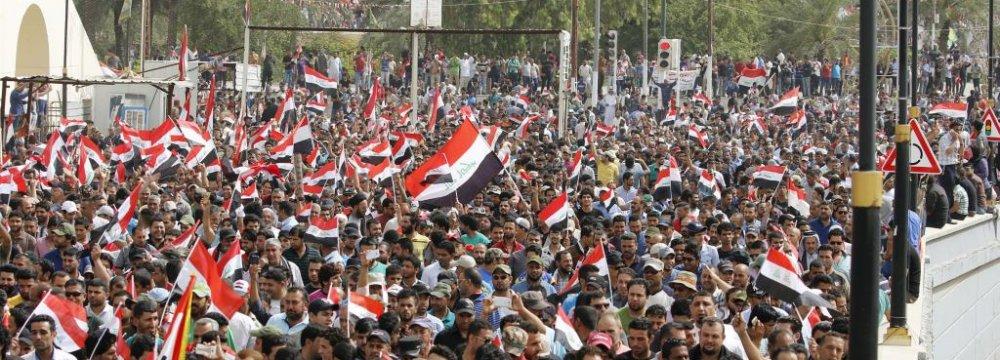 Supporters of Iraqi Shia cleric Moqtada al-Sadr demonstrate in Baghdad, Iraq, on Feb. 11.