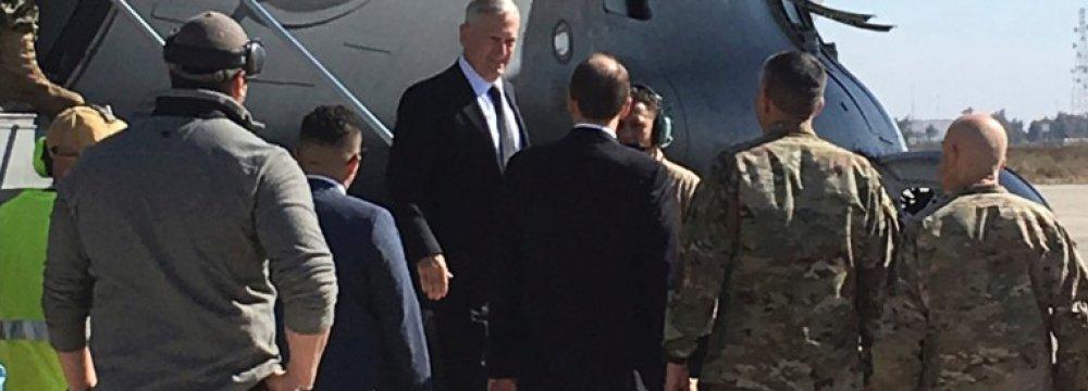 James Mattis arrives at Baghdad International Airport, Iraq, on Feb. 20.