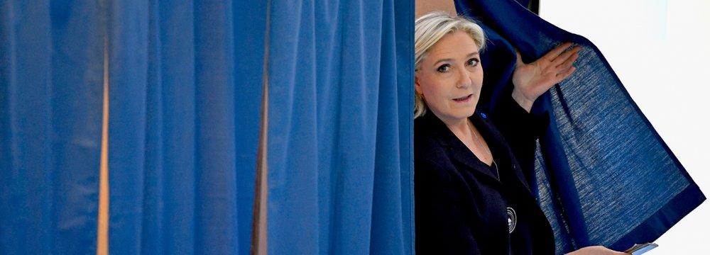 Marine Le Pen casting her vote, April 24