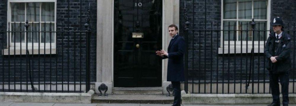 Emmanuel Macron outside 10 Downing Street, London, Feb. 21