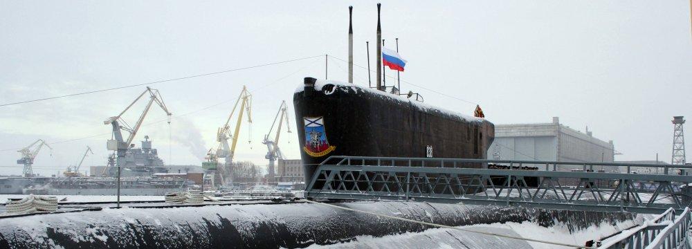 Flag-hoisting at the Russian Yury Dolgoruky nuclear-powered submarine