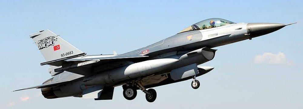 A Turkey military jet takes off.
