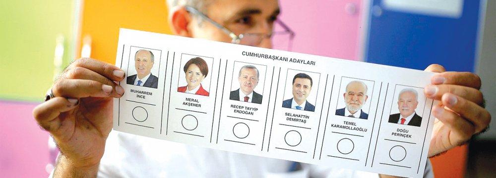 Six candidates were running for president (L-R): Muharrem Ince, Meral Aksener, Recep Tayyip Erdogan, Selahattin Demirtas, Temel Karamollaoglu, and Dogu Perincek.