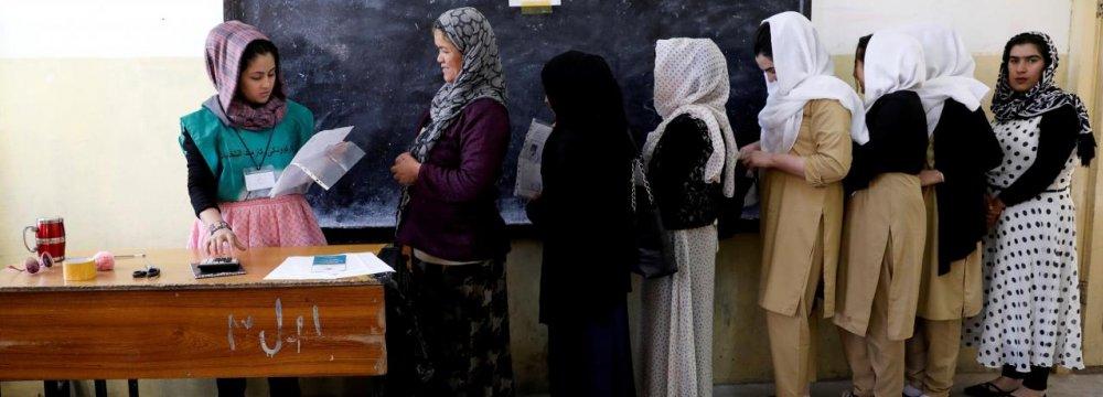 A voter registration center in Kabul on April 23