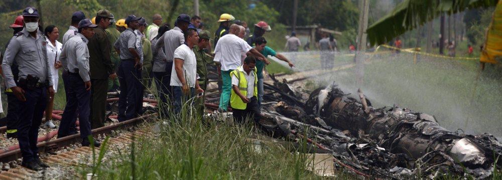 The scene of the Friday plane crash near Havana, Cuba