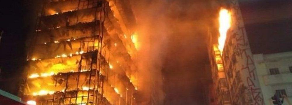 Blazing Sao Paulo Building Collapses
