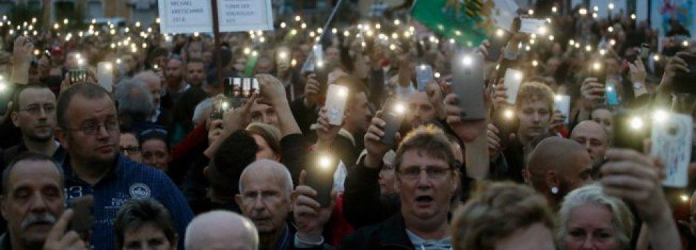 German Far-Right Stages New Anti-Merkel Protest