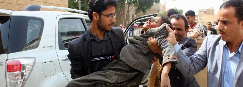 A child hurt in Saudi-UAE airstrike in Saada, Yemen, on August 9