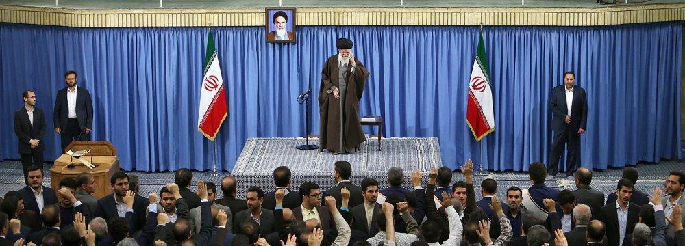 Ayatollah Seyyed Ali Khamenei addresses a gathering of workers in Tehran on April 30.