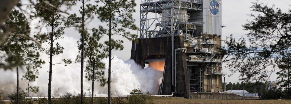 NASA Test-Fires Megarocket Engine