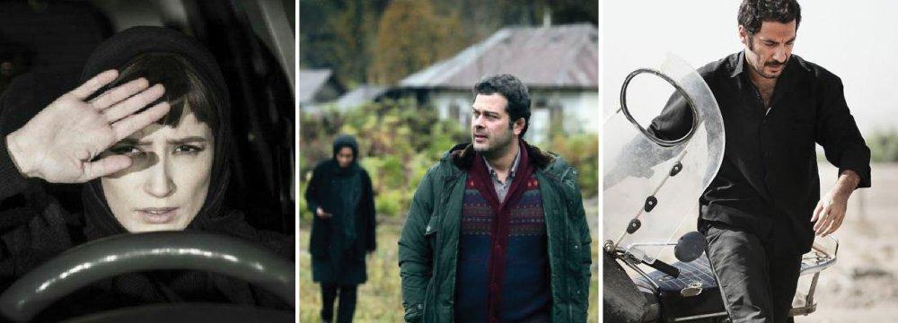 Negar Javaherian in 'Negar' (L), Pejman Bazeghi in 'Esrafil' (C) and Navid Mohammadzadeh in 'Undated, Unsigned'
