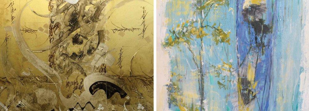 Works by Ahmad Aryamanesh (L) and Abdolmajid Pazouki