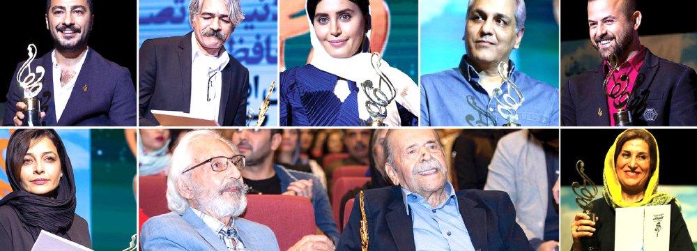 Winners of Hafez Award (clockwise from top left): Navid Mohammadzadeh, Keyahn Kalhor, Elnaz Shakerdoust, Mehran Modiri, Houman Seyedi, Fatemeh Motamed-Arya,  Mohammad-Ali Keshavarz, Jamshid Mashayekhi (presenter of the award) and Sareh Bayat
