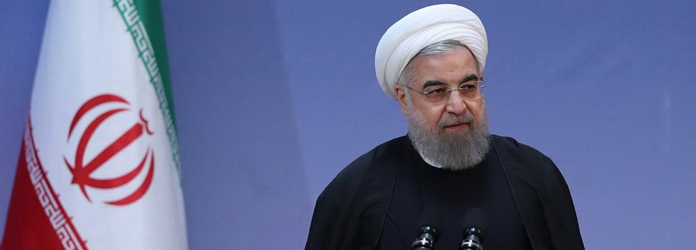 President Hassan Rouhani addresses the Eighth Farabi International Award on the Humanities and Islamic Studies Conference in Tehran on Feb. 12.