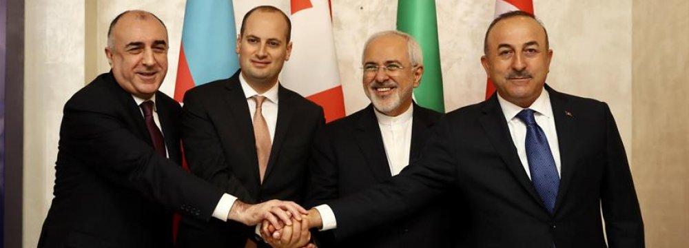 (From L) Foreign ministers of Azerbaijan, Elmar Mammadyarov; Georgia, Mikheil Janelidze; Iran, Mohammad Javad Zarif; and Turkey, Mevlut Cavusoglu meet in Baku on March 15.